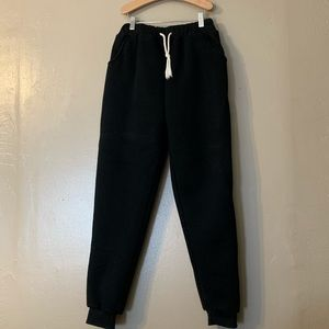 Black fleece lined joggers with draw string